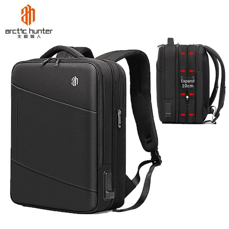 Schwarz herren Rucksack Laptop 15,6 zoll Große Kapazität Multi schicht Wasserdichte USB Aufladen Rucksack Reise Männlichen Tasche Mochila-in Rucksäcke aus Gepäck & Taschen bei  Gruppe 1