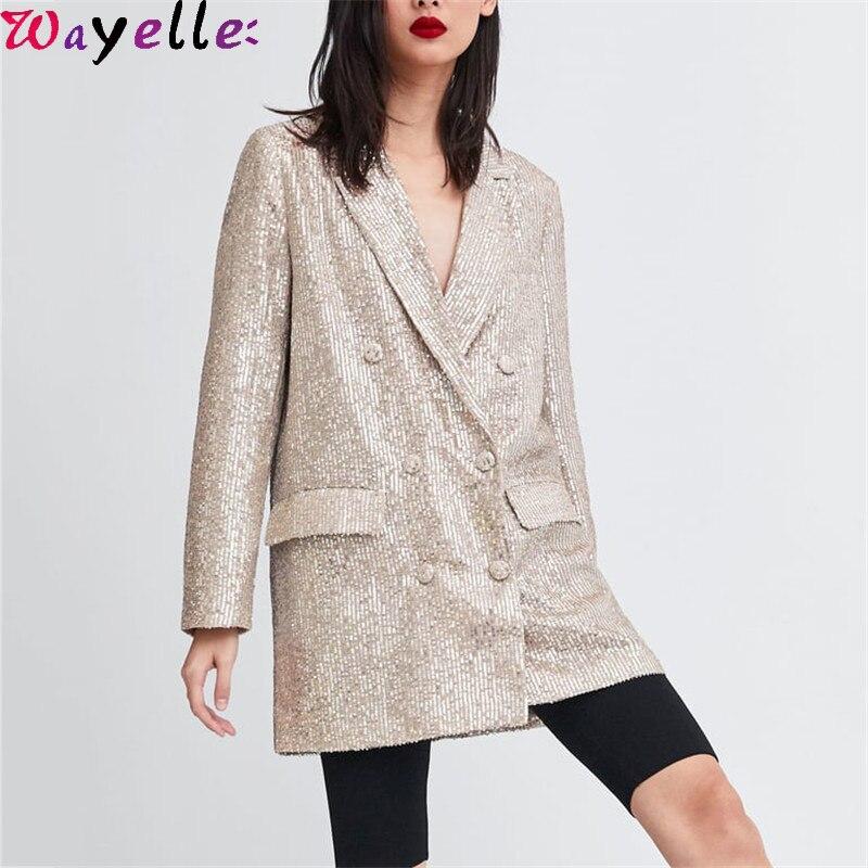 Women Blazer Jacket Geometric Pattern Sequined Blazer Feminino Shining Pockets Long Sleeve Outerwear Vintage Female Casual Tops