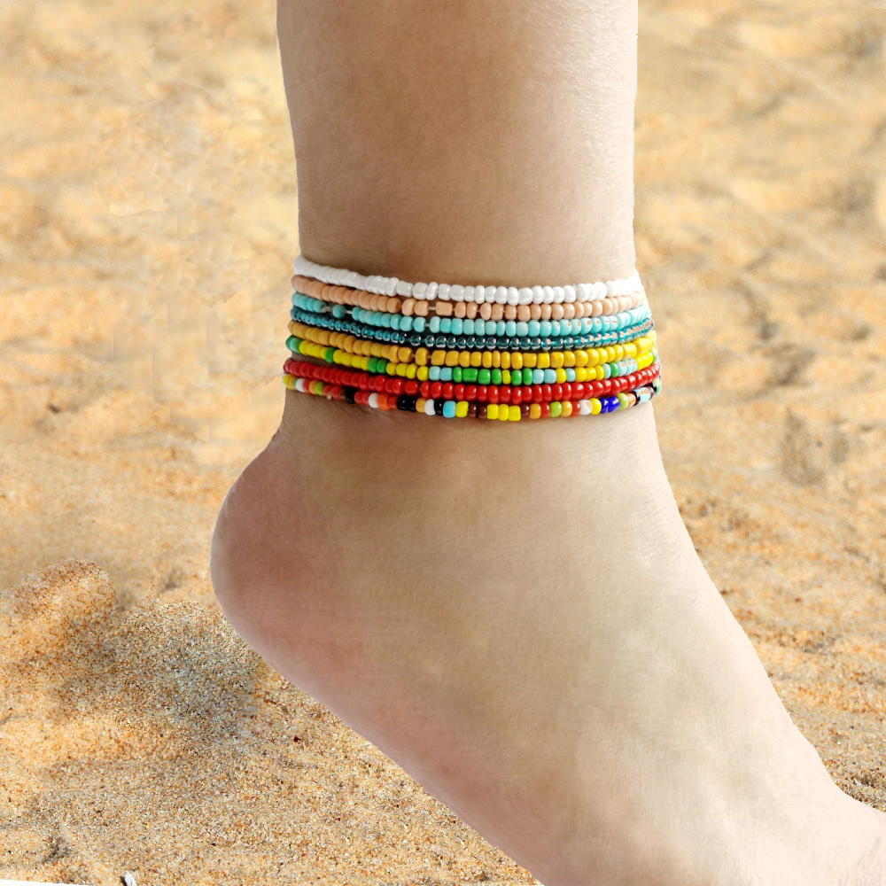 Bohemian Colorful Seed Beads Beach Anklet For Women Handmade Fahsion Summer Ocean Women Ankle Bracelet Foot Jewelry