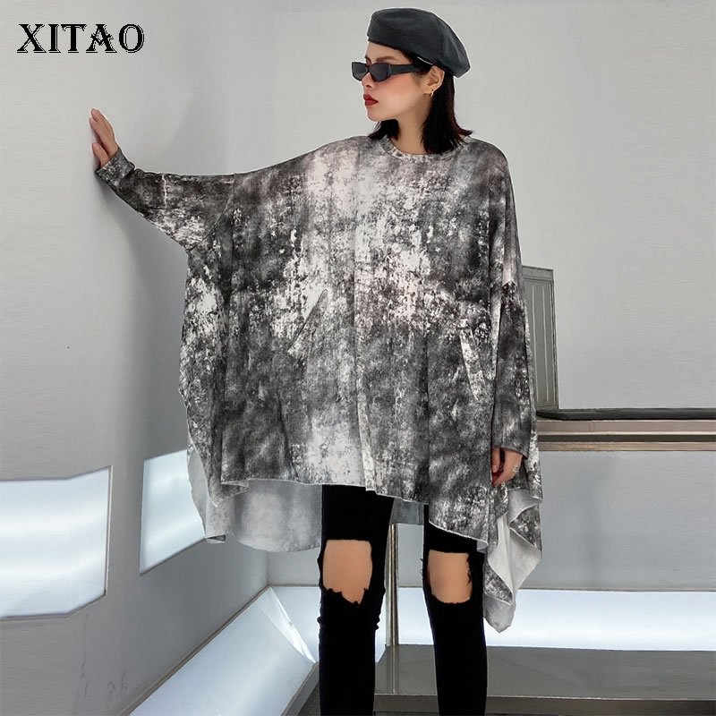 XITAO Plus Size Irregular Tie Dye T Shirt Women Clothes 2020 Spring New Pullover Batwing Sleeve Match All Vintage Tee ZLL4608