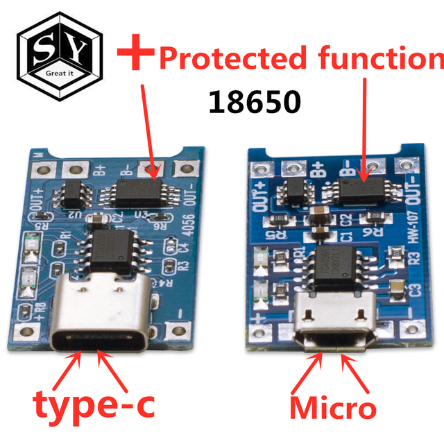 1PCS Great IT 5V 1A Micro USB 18650 type-c Lithium Battery Charging Board Charger Module+Protection Dual Functions TP4056 18650 1