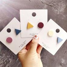 Korean Little Cute Geometric Triangle Solid Sweet Woman Girls Stud Earrings Fashion Jewelry Holiday-JQD5-W2