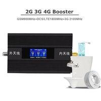 2G 3G 4G 트라이 밴드 신호 리피터 셀룰러 신호 부스터 GSM 900 1800 2100 휴대 전화 신호 증폭기 4G 안테나 키트