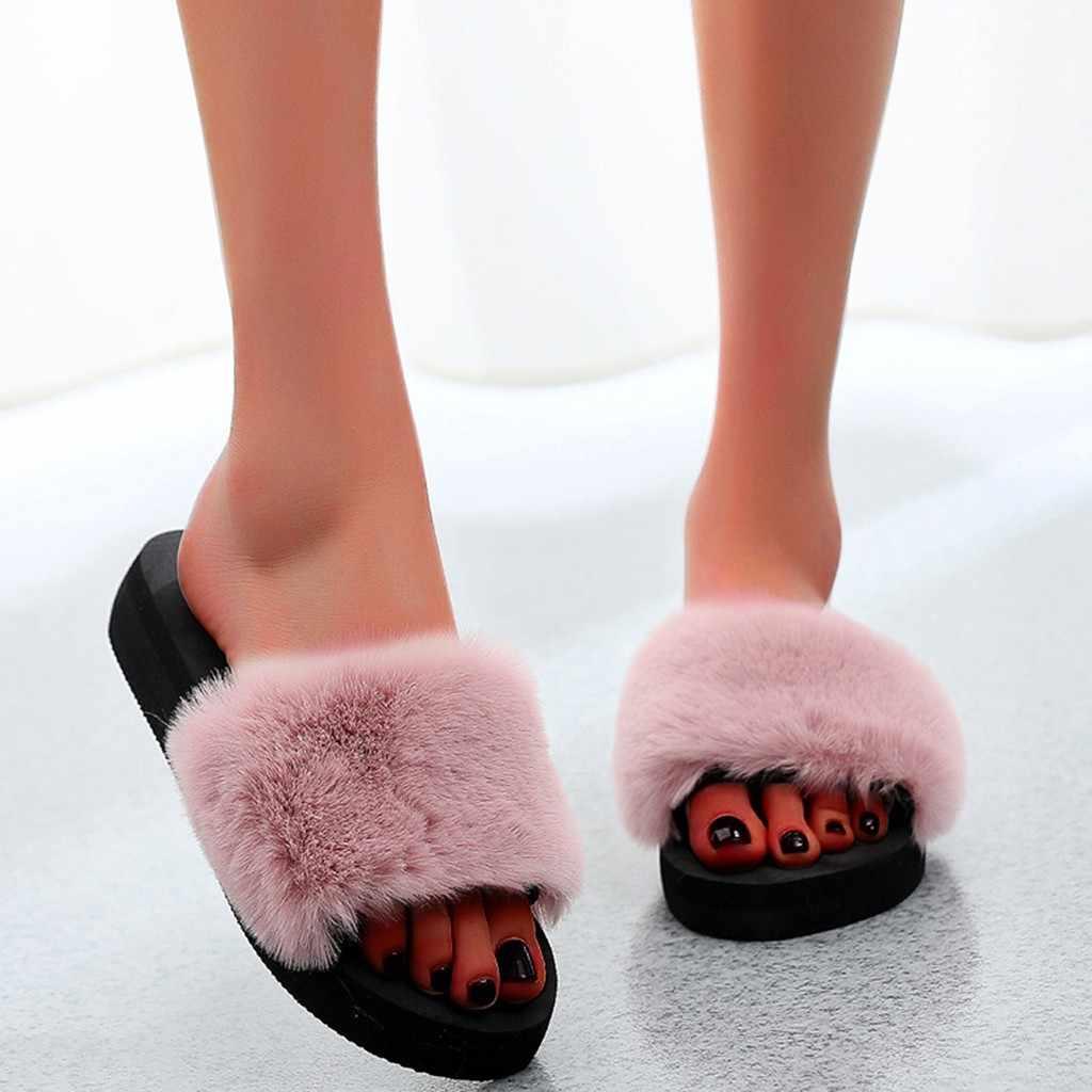 2020 yumuşak peluş lastik terlik kadınlar için yaz bahar düz topuk rahat ayakkabılar kadın zarif sıcak güzel terlik Retro roma