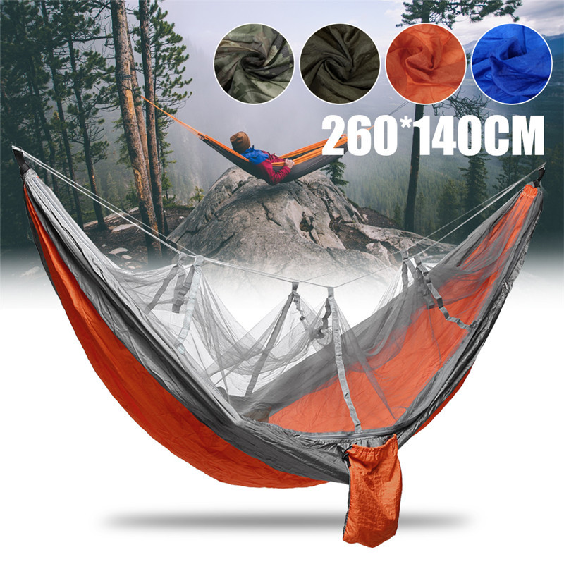 Ultralight Camping Hammock Beach Swing Bed Hammock With Mosquito Nets For Outdoors Backpacking Survival Or Travel