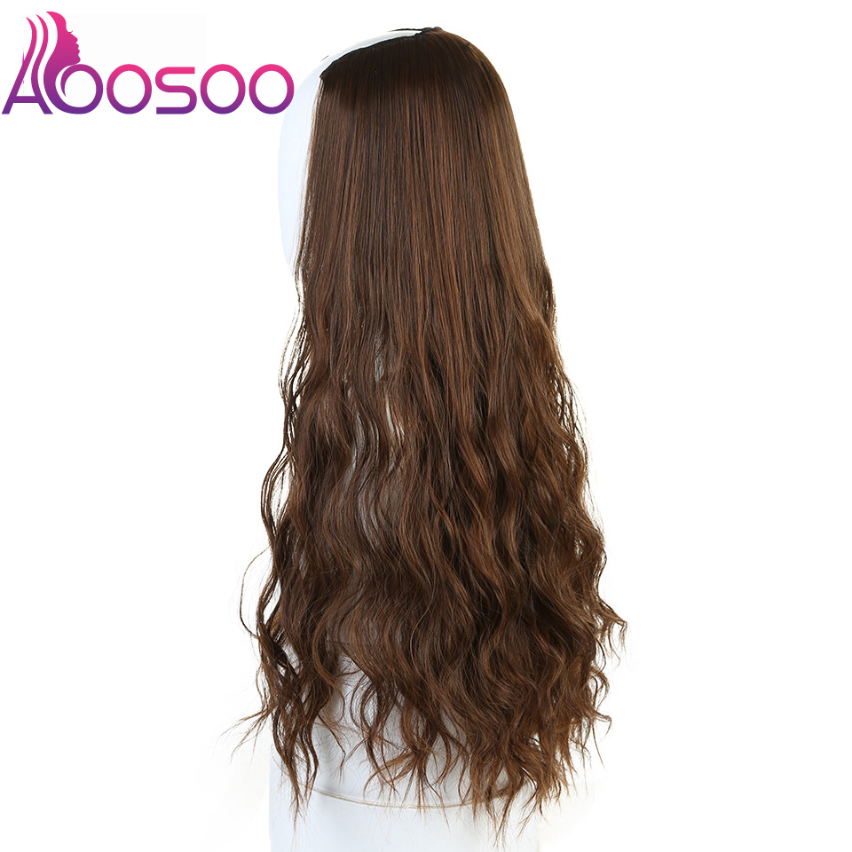 """Long Wavy Culry U-Shaped Half Wig for Women 24"""" Natural Female Long Black Brown Wigs Heat Resistant Synthetic Fake Hair 5"""