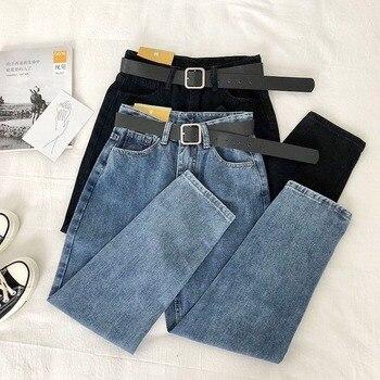 Vintage High Waist Jeans Women Solid Straight Pants Loose Casual  High Street Denim Trousers Pantalon Femme Plus Size With Belt 1