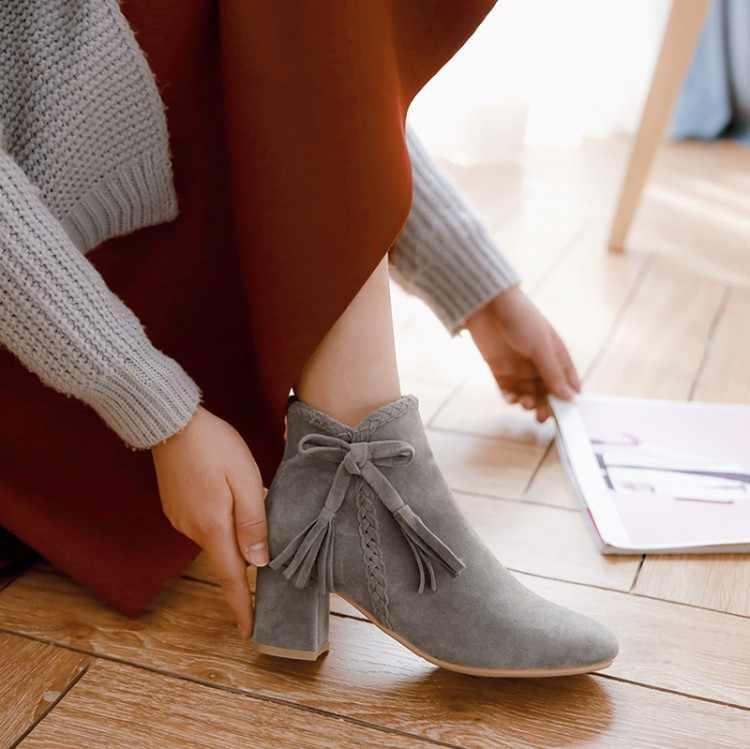 Große Größe 9 10 11 12 stiefel frauen schuhe stiefeletten für frauen damen stiefel schuhe frau winter einfarbig runde kopf seite zipper