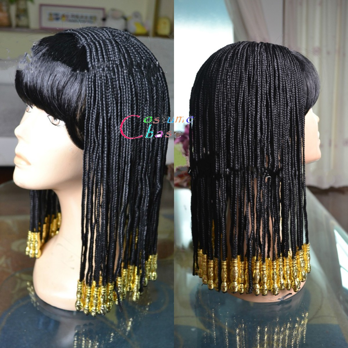 LADIES BLACK CLEOPATRA WIG EGYPTIAN FANCY DRESS COSTUME QUEEN OF THE NILE HAIR
