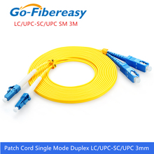 Cabo de remendo da fibra ótica do único modo do cabo os1 do cabo de remendo da fibra ótica de LC SC mm pvc 3 medidores lc/UPC SC/upc cabo de ligação em ponte da fibra ótica