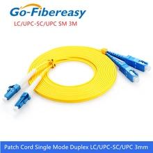 LC-SC Fiber Patch Cord Cable OS1 Single mode Duplex Fiber Optic Patch Cord 3mm PVC 3Meter LC/UPC-SC/UPC Fiber Optic Jumper Cable lc upc to lc upc fiber optic patch cord duplex 2 0mm pvc optical jumper single mode ftth fiber patch cable lc connector