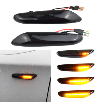 2PCS Smoke Lens Dynamic Flowing LED Turn Signal Side Marker Light Blinker Lamp for BMW E60 E61 E90 E91 E81 E82 E88 E46 X3 X1 image