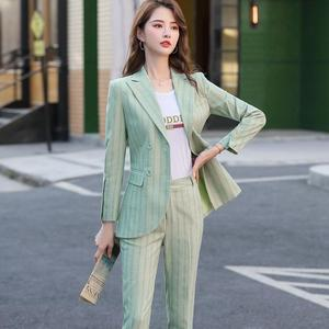 Image 5 - New Women Double Breasted Pant Suit S 5XL Casual Green Khaki Pink Stripe Jacket Blazer And Pant 2 Piece Suit Set
