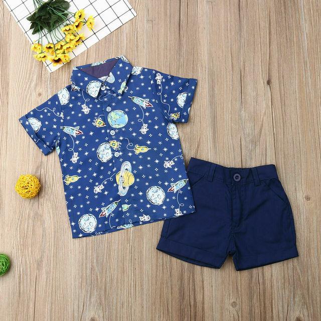 Kids Baby Boy Rocket Gentleman Clothes Shirt Tops Shorts Pants Formal Outfit
