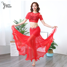 2pcs/set New Belly Dance Practice Clothes Sexy Thin Long Tulle Skirts Women Short Sleeve Bellydance Top Adult Trajes Bellydance