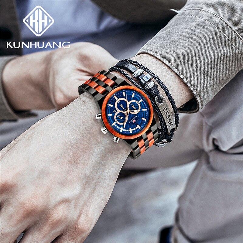 Artesanal de Madeira Relógio de Quartzo Personalizado Relógio Masculino Novo Lazer Esportes Marca Luxo Luminosa Multifuncional Selvagem 2020