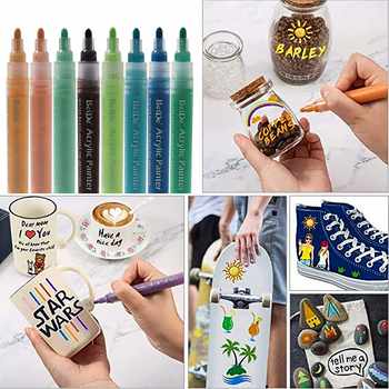 Acrylic Paint Pens, Medium Tip Paint Markers for Rock Painting, Mug, Ceramic, Glass, Fabric Painting, Water Based Non-Toxic 6mm acrylic paint marker pens permanent non toxic acid free quick dry water based paint pen