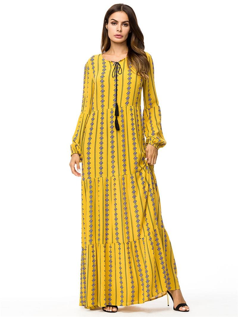 2019 herbst winter mode gelb lange Ärmeln kleid dubai arabischen  muslimischen roben frauen lose beiläufige druck kleid maxi dropshipping