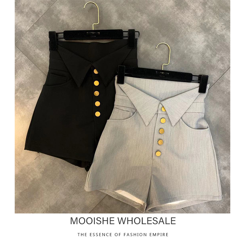 2019 Autumn New Cuffed Button Decoration Small Woman Trend High Waist Shorts Female