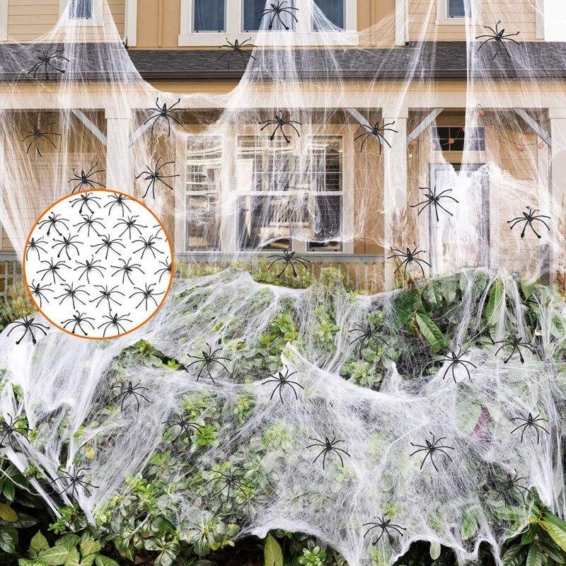 Telaraña elástica de Halloween de 1000 pies cuadrados con arañas falsas de plástico 100 para interior y decoración exterior para Halloween
