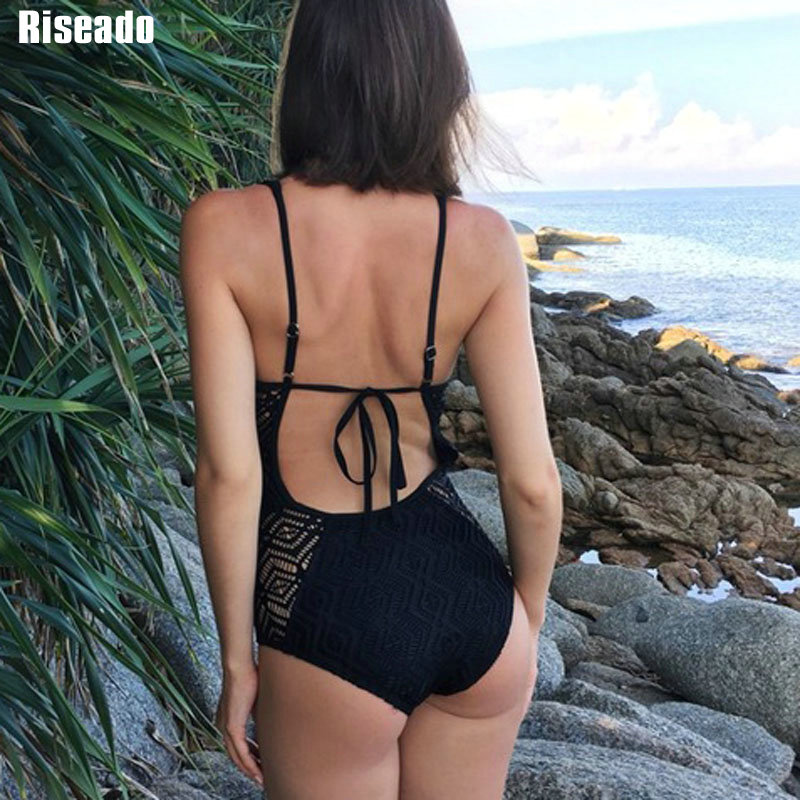 Riseado New 2019 One Piece Swimsuit Female Deep V Sexy Swimsuit Solid Swimwear Women Hollow Out Summer Bathing Suits