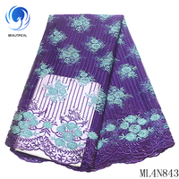 BEAUTIFICAL lace african embroidery cheaper sewing french tulle lace fabrics material for sewing dress ML4N843