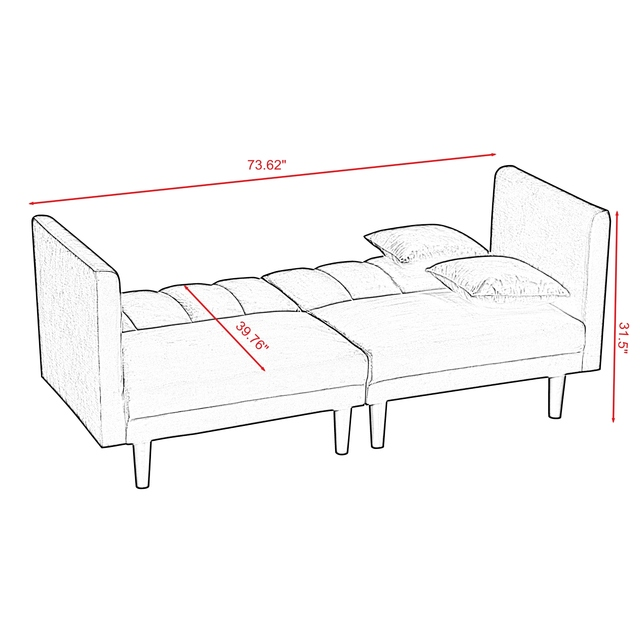 Dual Purpose Futon Sofa Bed Sleeper with 2 Pillows 3-Color Linen Blend Fabric 73.6x32.3x31.5 Inch U.S. Stock 3