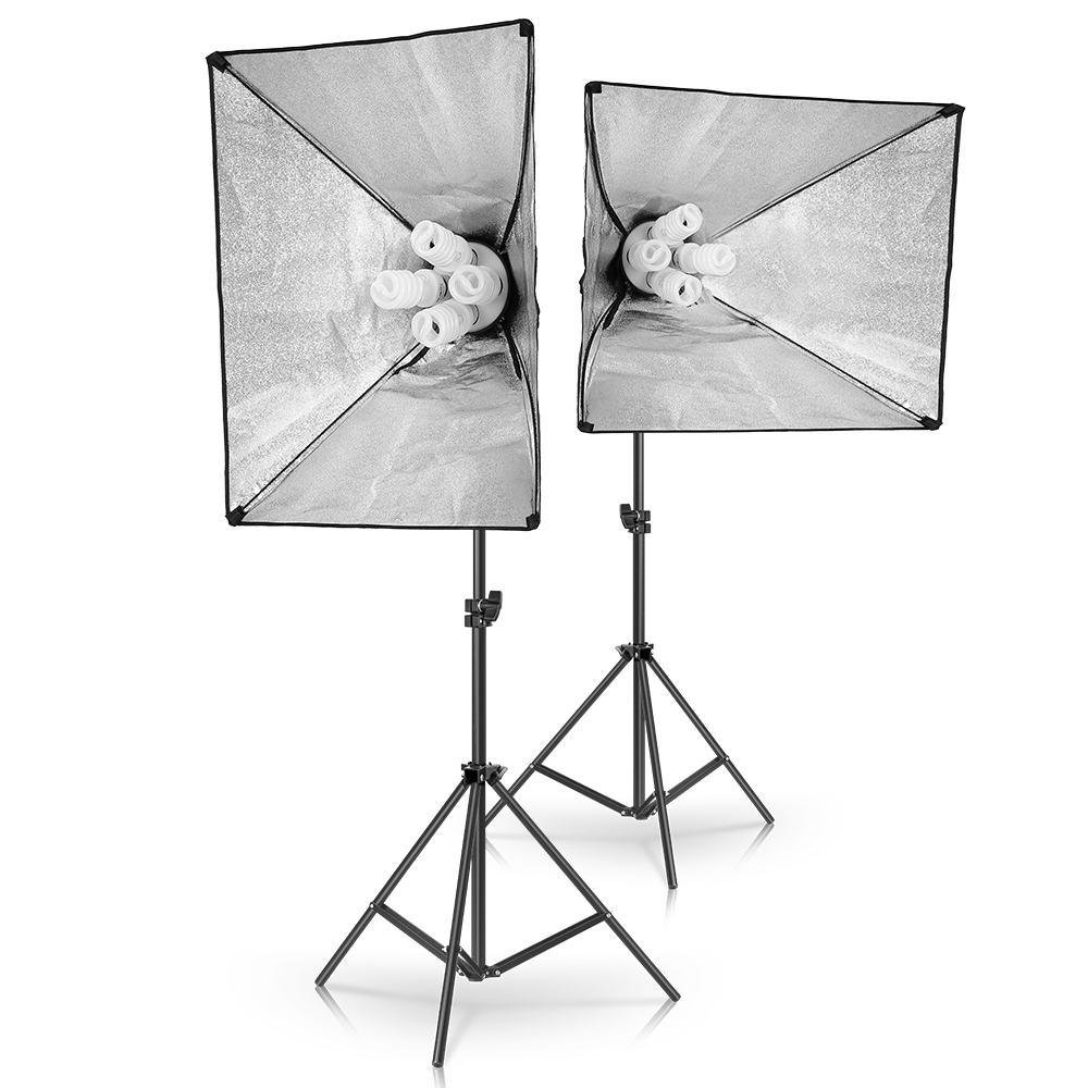 50cm*70cm Softbox Photography Lighting Kit Continuous Lighting Kit with 2M Light Stand, Studio Lighting Kit with 8pcs 45w Bulbs 2
