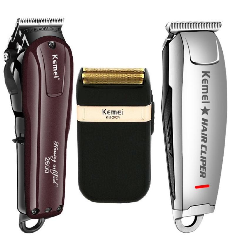 Kemei Electric Hair Clipper Rechargeable Cordless Hair Trimmer Beard Shaver Hair Cutting Machine Professional Hair Cutter Barber