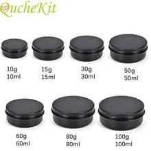 20pcs Black Aluminium Tin Jars Makeup Cream Lip Balm Smaple Container Empty Candle Tea Cans Metal Tin Box Packaging Gift Boxes