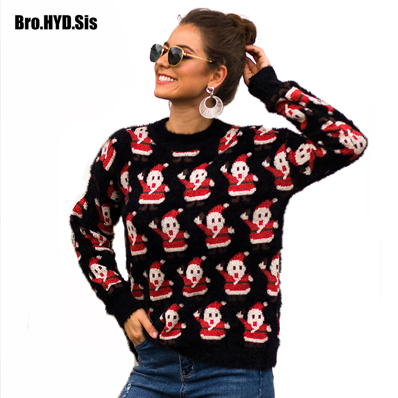Fashion Fuzzy Sweater Women Jacquard Pullovers Ugly Christmas Jumpers Crew Neck Santa Claus 2019 Fall Winter New Girls Tops