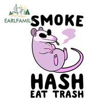 EARLFAMILY 13cm x 8.4cm for Smoke Hash Eat Trash Rat Anime Laptop Decal Trunk Cartoon Car Stickers RV Personality Vinyl Car Wrap(China)