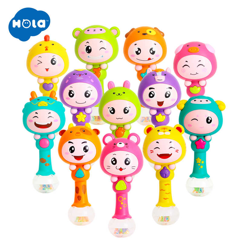 Hola 3101 Mainan Bayi 0-12 Bulan Bayi Mainan Shaker Pasir untuk Balita Musik Shaker Mainan untuk Bayi Awal belajar Mainan Pendidikan