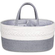 Baby diaper caddy organizer  stylish rope nursery storage bin