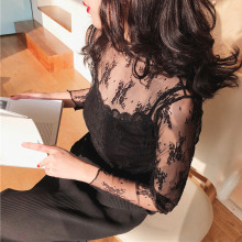 Ladies Thin Summer Long Sleeve Soft Embroidery Fashion Lace Mesh Women Blouse See Through Tops Stand Collar Floral Sexy-in Blouses & Shirts from Women's Clothing on AliExpress