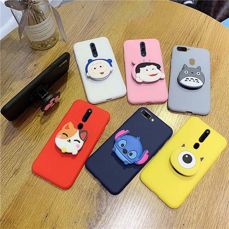 Matte 3D Cute Holder Silicone <font><b>Case</b></font> For <font><b>OPPO</b></font> A33 <font><b>A37</b></font> A39 A59 A71 A73 A79 A83 A3 A7 A9 <font><b>Soft</b></font> Cover Cartoon <font><b>Cases</b></font> image