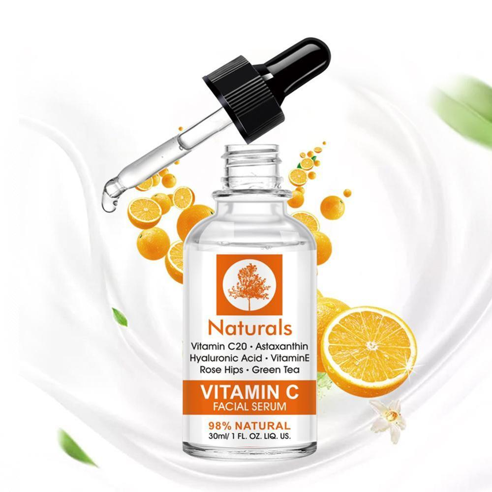 1pc Vitamin C Serum For Face Cream Shrink Pore Green Oil Whitening Moisturizing Control Repair Acne Skin B7S7