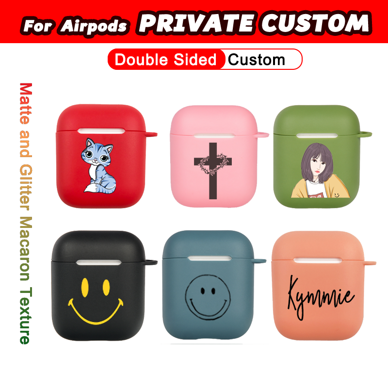 Private Custom Case for Apple Airpods 1 2 DIY Matte Colorful Glitter Macaron Soft TPU Cover Name Logo Text Customized