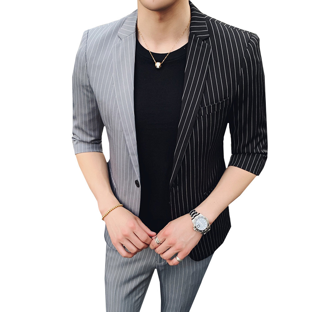 2019 Spring Summer New Korean Men's Splice Suits Five-point Sleeves Suit Nine Points Pants Striped Hair Stylist Blazer + Pants