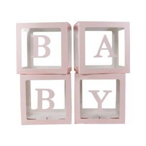 Image 4 - 4pcs/set 2019 Transparent Box Latex Balloon BABY LOVE Blocks for Boy Girl Baby Shower Wedding Birthday Party Decoration Backdrop