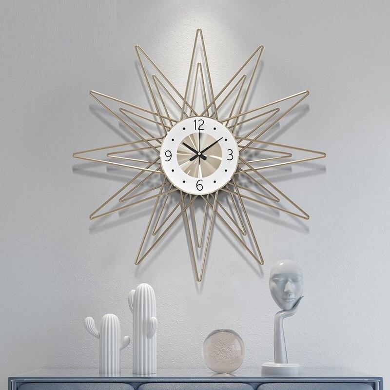 Nordic Simple Large Metal Wall Clock Modern Design Creative Atmosphere Luxury Art Quartz Clocks Wall Watch Home Decor R2252