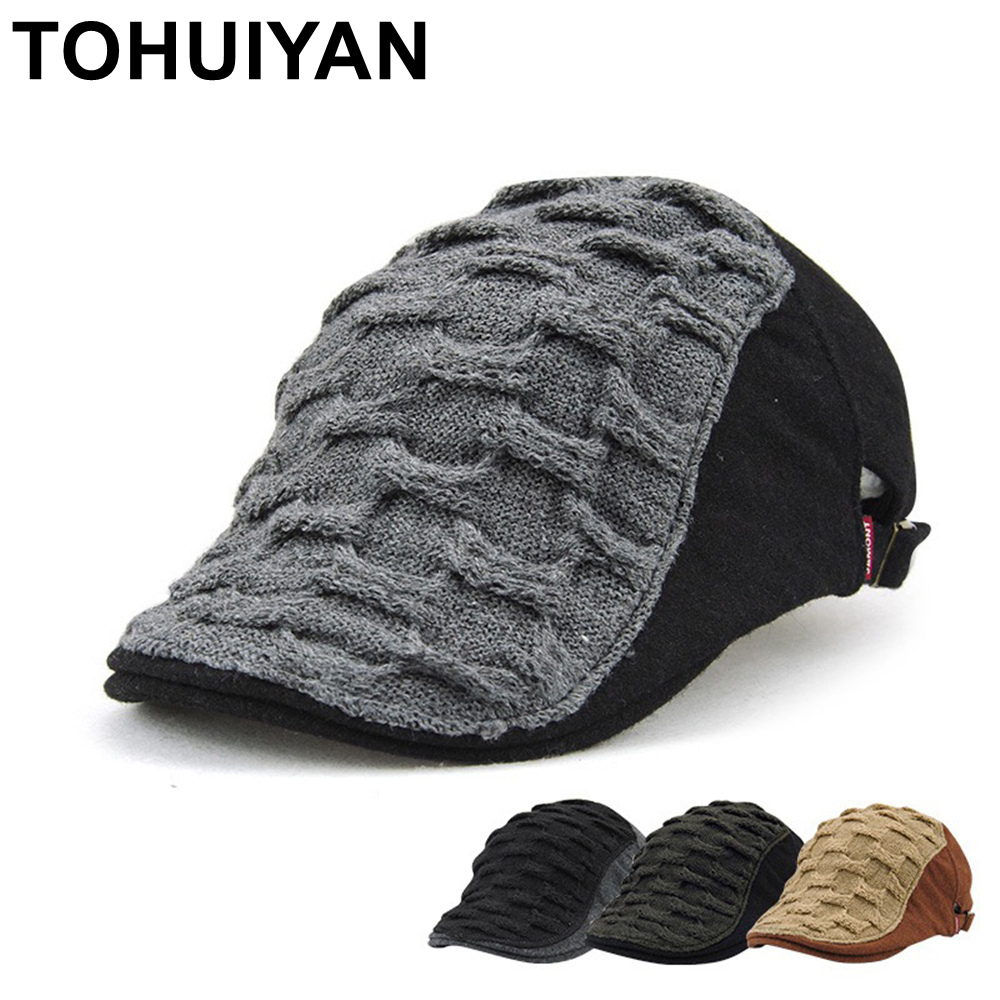 TOHUIYAN Spring Winter Men Hat Knitted Wool Newsboy Cap Hat Classic Warm Beret Hats British Gentleman Boina Duckbill Peaked Caps