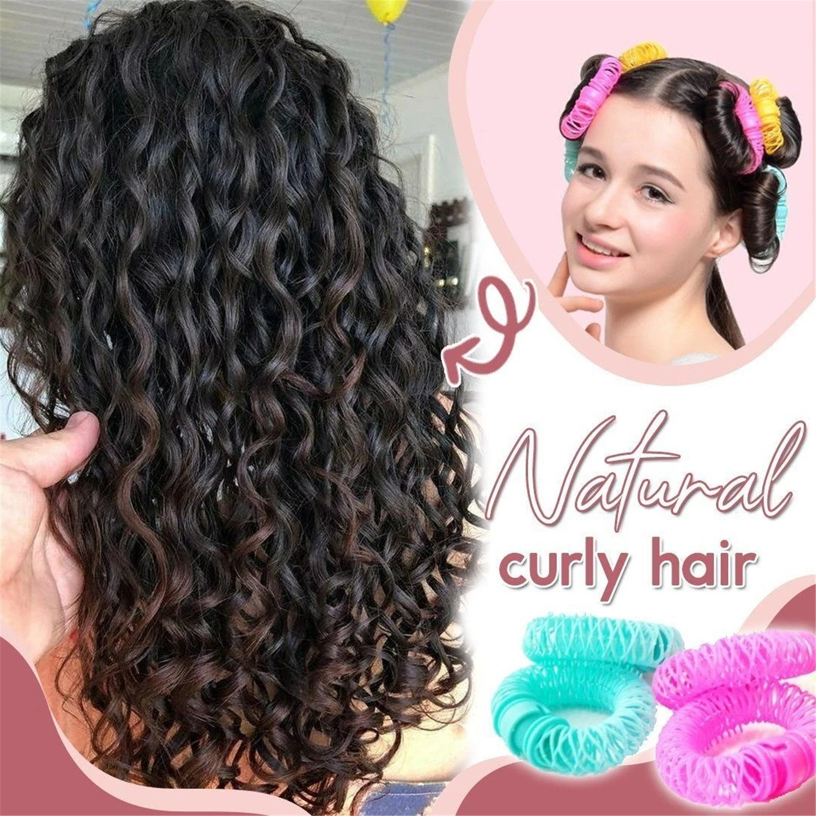 Donut-rulos mágicos de plástico en espiral para rizar cabello, rulos naturales para rizar cabello