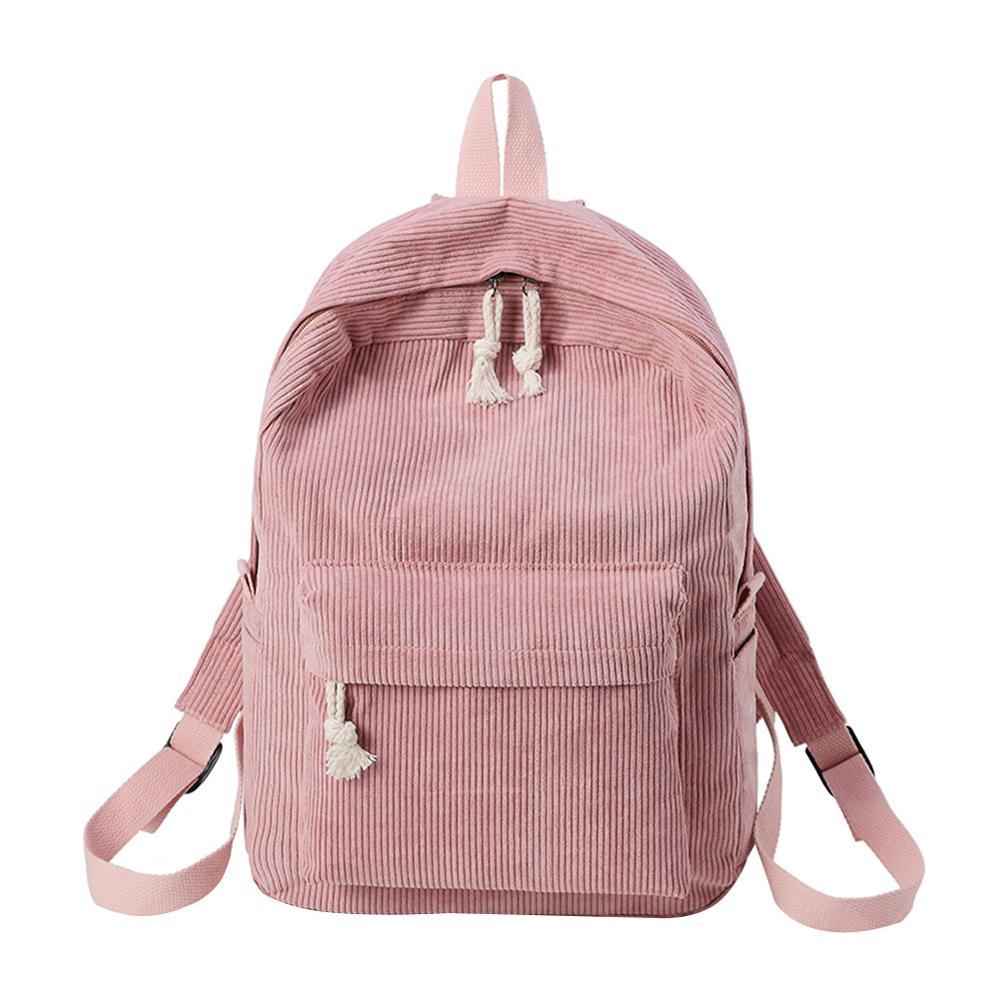 Preppy Style Soft Fabric Backpack Female Corduroy Design School Backpack For Teenage Girls Striped Backpack Women Mochila