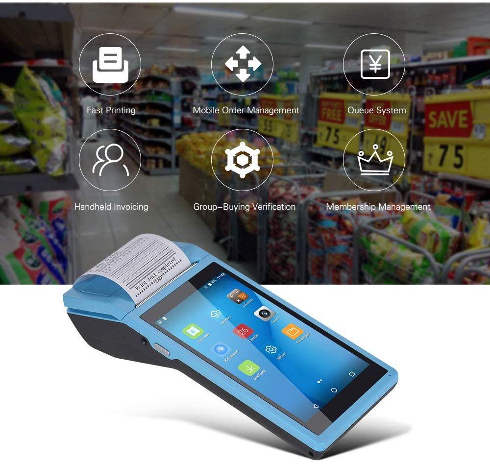 NETUM Android POS Terminal Receipt Printer Handheld PDA Bluetooth WiFi 3G NFC Data Collector Portable Barcode Scanner All-in-One