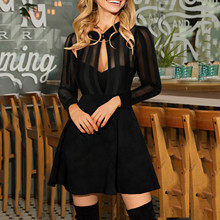Dresses A-Line Long-Sleeve Bodycon Sexy Women's Lace for Slim Solid-Color Solid-Color