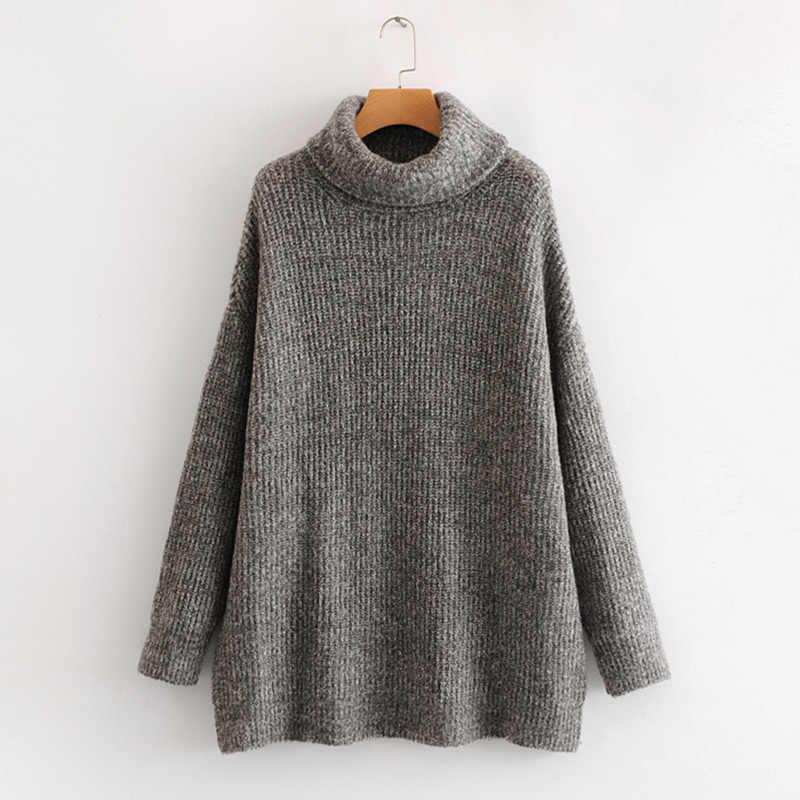 คอเต่าถักเสื้อกันหนาวสตรี P ullovers O versize แขน Batwing แข็งผู้หญิงเสื้อกันหนาว 2020 ฤดูใบไม้ผลิหลวมพื้นฐานจัมเปอร์