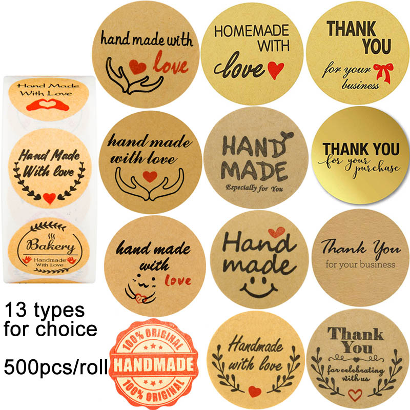 Homemade Handmade With Love Sticker Especially For You  Thank You For Your Business Purchase Celebrating With Us Seal Stickers