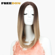 FREEDOM Medium Length Straight Wigs For Black Women Synthetic Heat Resistant Blonde Natural Hairline Lace Front Wig Ombre Wigs(China)