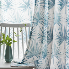 Nordic Style Curtains for Living Room Bedroom Blue Leaf Printed Curtains Balcony Bay Window Wholesale Zero Shear Custom Curtains